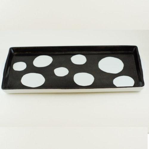 plateau avec anse en porcelaine peint à la main, collection noir et blanc