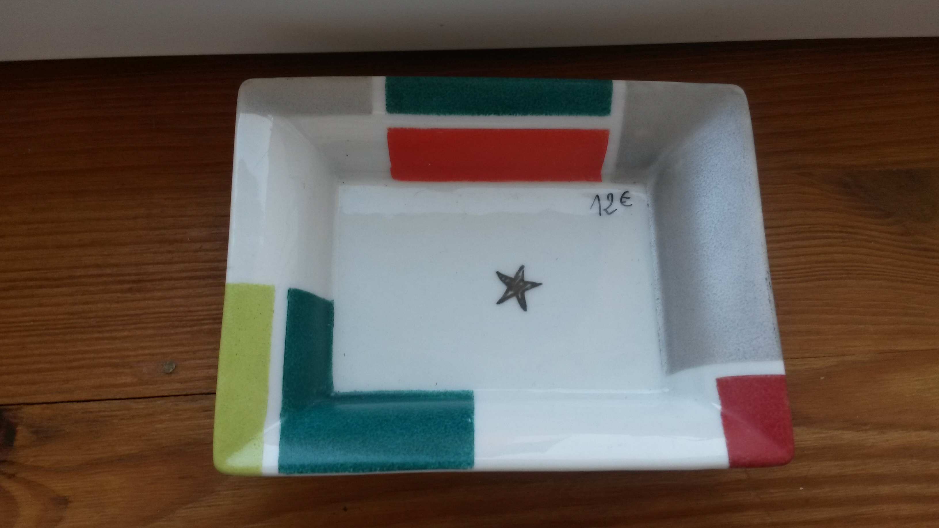 Vide poche porcelaine platine Etoile métal précieux platine 100% peint à la main