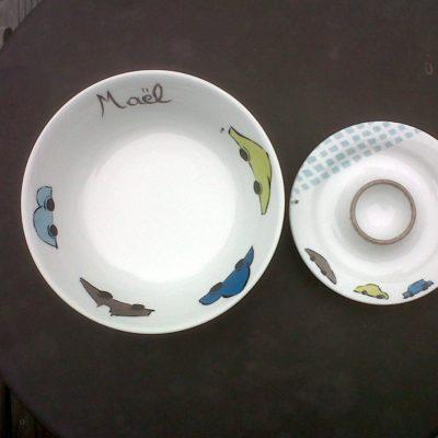 set en porcelaine sur mesure Maël coquetier et bol