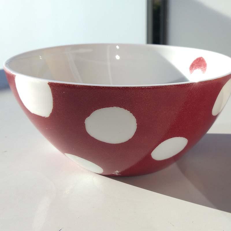 bol en porcelaine à motifs pois et couleur rouge, série limitée