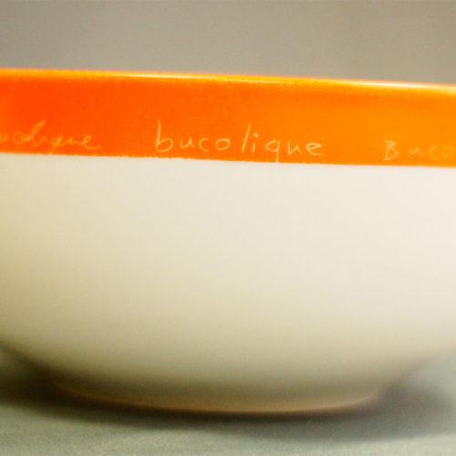 détail du motif du saladier bucolique peint à la main