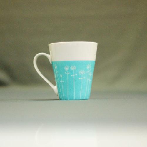 mug conique en porcelaine, peint à la main, couleur turquoise