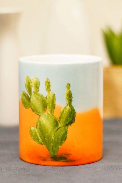 mug en porcelaine peint à la main, motif cactus