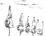 parasols fermés, fin d'été, croquis les créations d'Isa