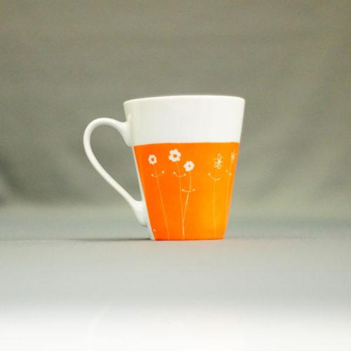 mug en porcelaine blanche, collection Bucolique, peint à la main à l'atelier, made in France