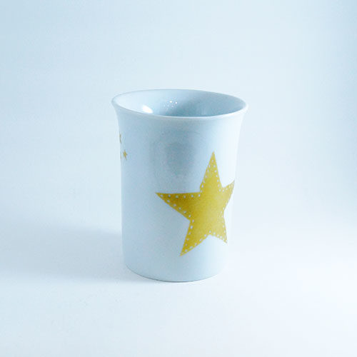 gobelet étoile dorée en porcelaine peinte à la main