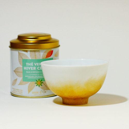 petit bol en porcelaine de Limoges, peint à la main effet poudré doré