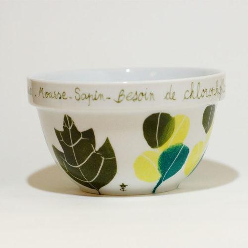 bol empilable en porcelaine peint à la main, phrase faire entrer le jardin dans la maison