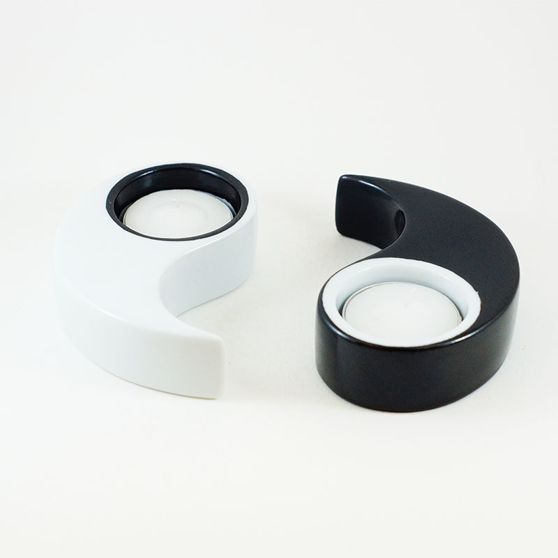 Bougeoir yin et Yang en porcelaine peint à la main