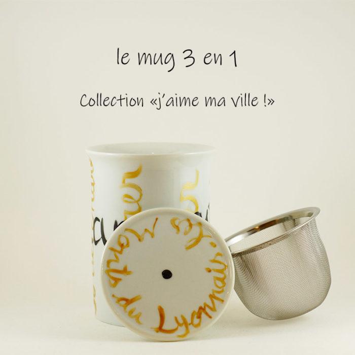 """mug ou tisanière trois en un en porcelaine, collection """"j'aime ma ville"""""""