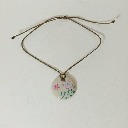 bracelet de forme ronde en porcelaine, collection bohème peint à la main